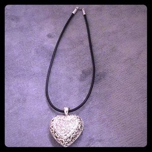 Jewelry - Large puffed heart necklace black leather chain.